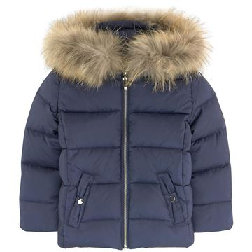 Picture of Lili Gaufrette Navy Coat with Fur Hood
