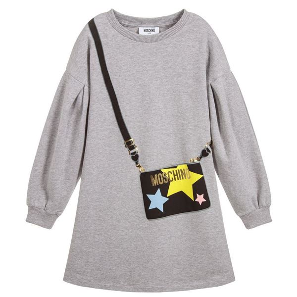 Picture of Moschino Girls Grey Jumper Dress
