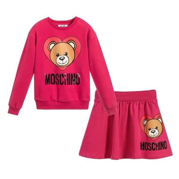 Picture of Moschino Girls Pink Teddy Skirt Set