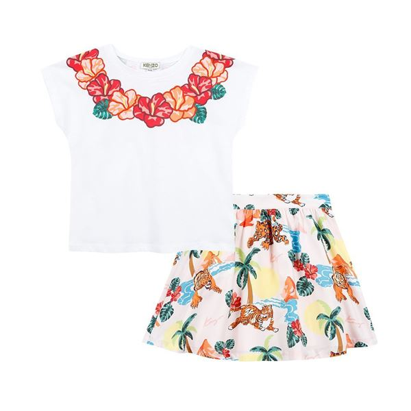 Picture of Kenzo Girls Jungle Print Skirt Set