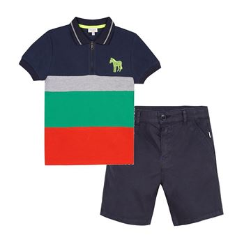 Picture of Paul Smith Stripe Polo & Shorts Set