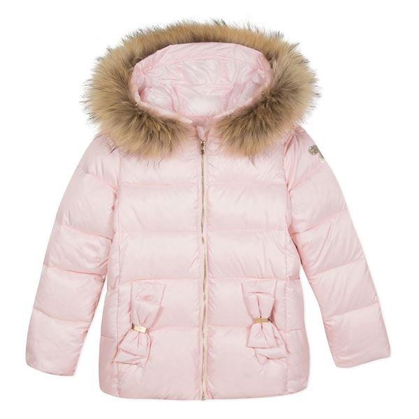 Picture of Lili Gaufrette Pale Pink Coat With Fur Hood