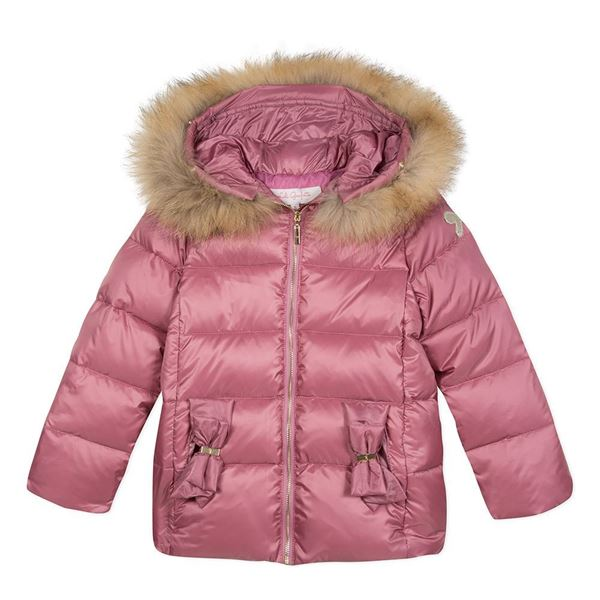 Picture of Lili Gaufrette Lilac Coat With Fur Hood