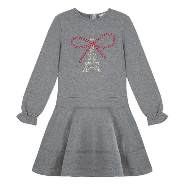 Picture of Lili Gaufrette Grey Dress With Bow