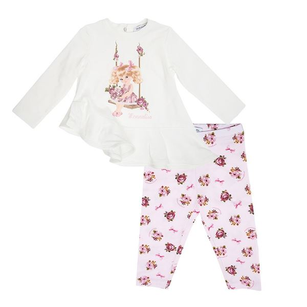 Picture of Monnalisa Baby Pink & Cream Leggings Set