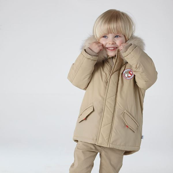 Picture of Mitch & Son Beige Coat With Faux Fur Hood