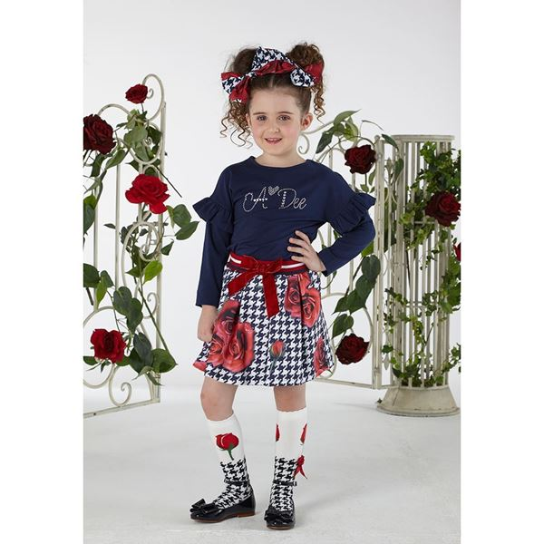 Picture of Ariana Dee Navy Rose Print Top & Skirt