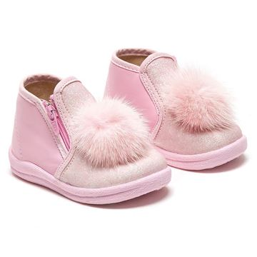 Picture of Monnalisa Baby Pink Boot with Fur Pom Pom