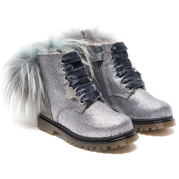 Picture of Monnalisa Grey Glitter Boot with Fur Pom Pom