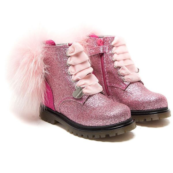 Picture of Monnalisa Pink Glitter Boot with Fur Pom Pom