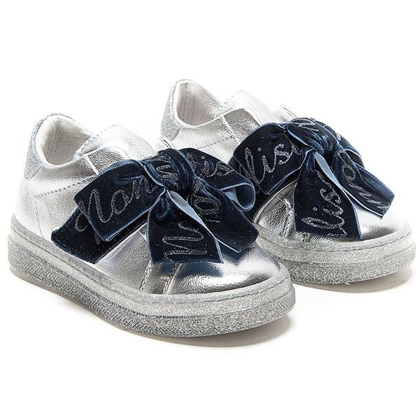 Picture of Monnalisa Silver Metallic Trainers with Navy Ribbon