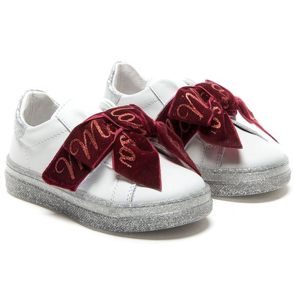 Picture of Monnalisa White Leather Trainers with Red Ribbon