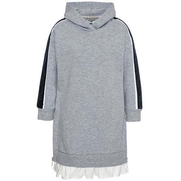 Picture of Monnalisa Grey Hooded Dress With Navy Trim