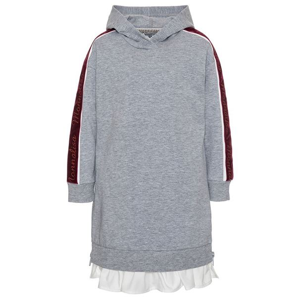 Picture of Monnalisa Grey Hooded Dress with Red Trim