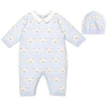 Picture of Emile Et Rose 'Rico' Knitted Pale Blue Teddy Romper