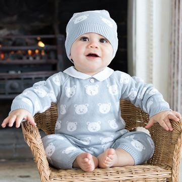 Picture of Emile Et Rose 'Rico' Knitted Grey Teddy Romper