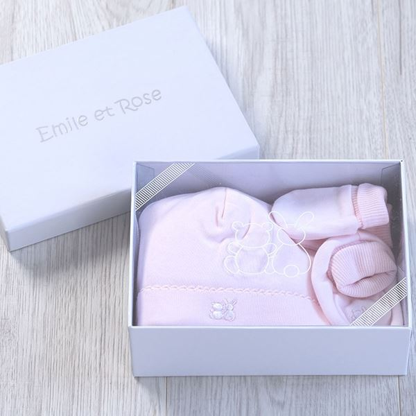 Picture of Emile Et Rose Pink Hat, Bootie & Mitt Gift Set