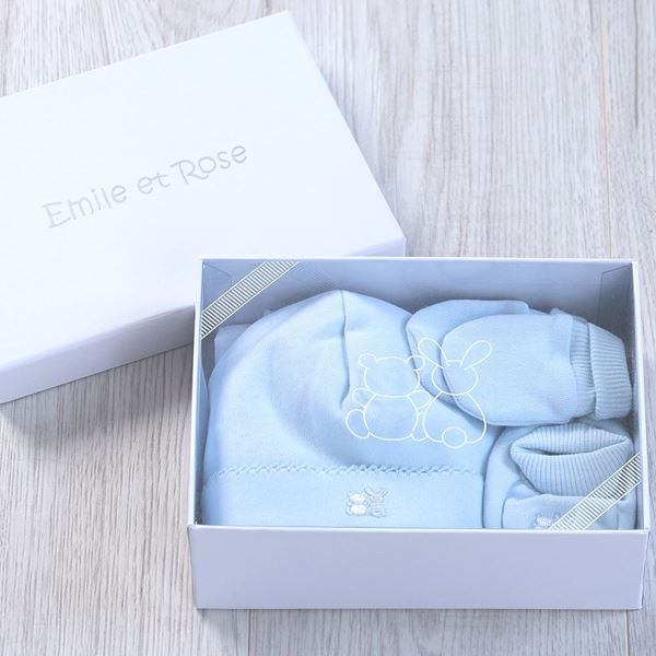 Picture of Emile Et Rose Blue Hat, Bootie & Mitt Gift Set
