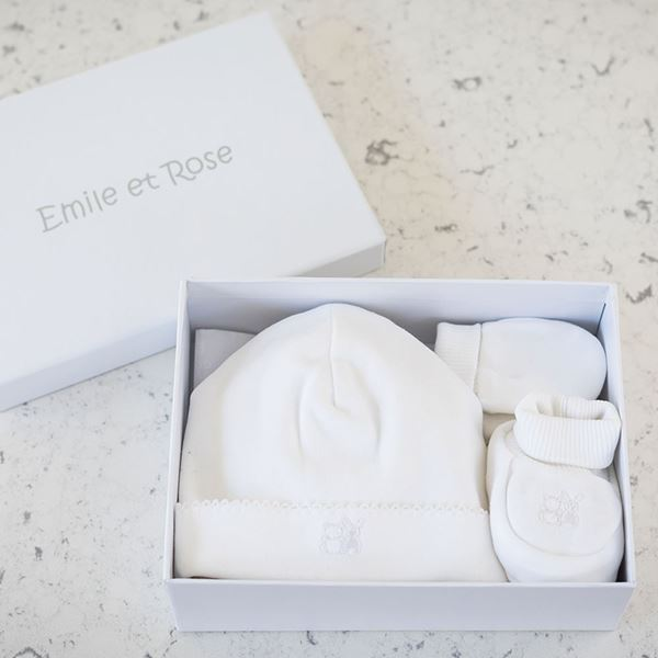 Picture of Emile Et Rose White Hat, Booties & Mitt Gift Set