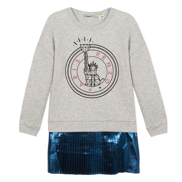 Picture of Kenzo Girls Grey Jumper Dress With Metallic Blue Bottom