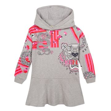 Picture of Kenzo Girls Grey & Pink Jumper Dress With Hood