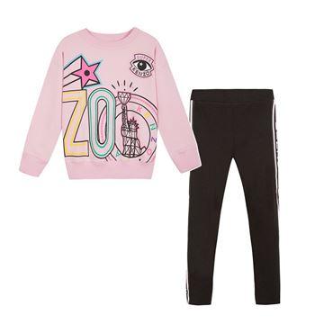 Picture of Kenzo Girls Pink Jumper & Black Leggings Set