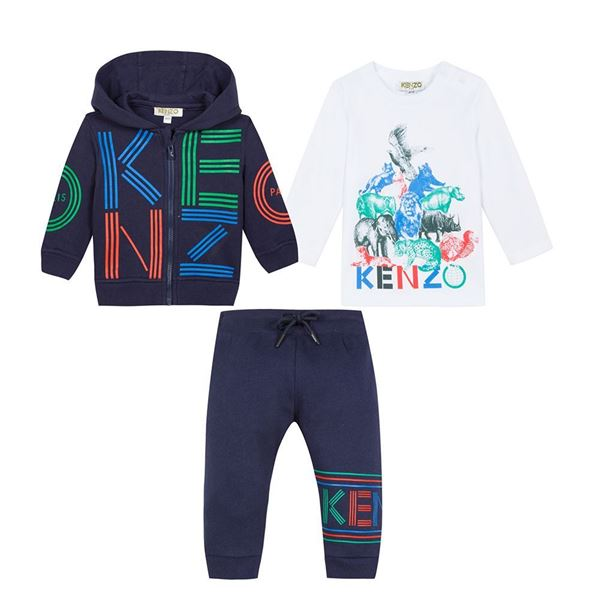 Picture of Kenzo Baby Boys Navy 3 Piece Tracksuit
