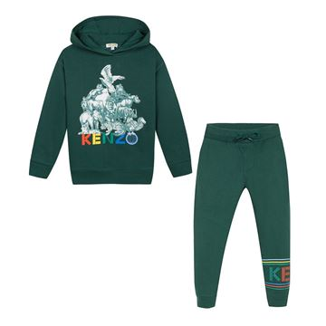 Picture of Kenzo Boys Green 2 Piece Tracksuit