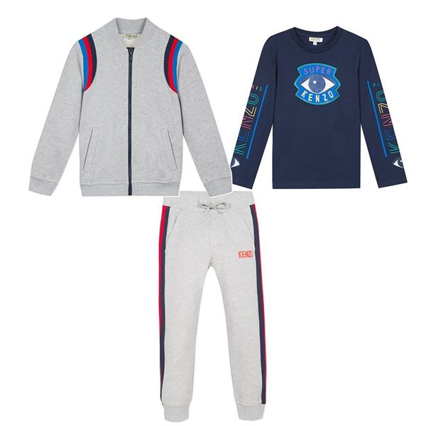 Picture of Kenzo Boys Grey Eye 3 Piece Tracksuit