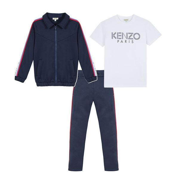 Picture of Kenzo Boys Navy 3 Piece Tracksuit