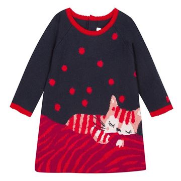 Picture of Catimini Baby Girls Navy & Red Knitted Dress