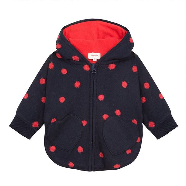 Picture of Catimini Baby Girls Navy & Red Spotted Knitted Jacket