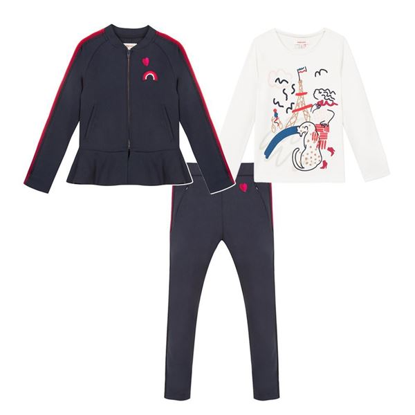 Picture of Catimini Girls Navy 3 Piece Tracksuit
