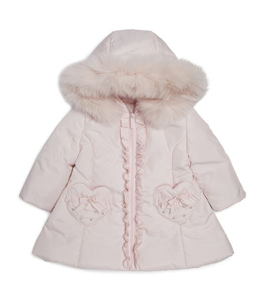Picture of Bimablo Girls Pink Coat With Fur Hood