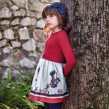 Picture of Mayoral Girls Red Long Sleeve Printed Dress