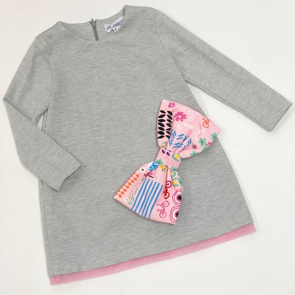 Picture of SImonetta Girls Grey Dress With Bow Detail