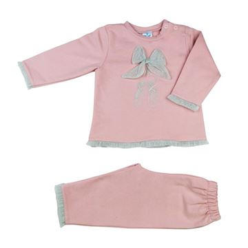 Picture of Sardon Girls Pink & Grey Bow Tracksuit