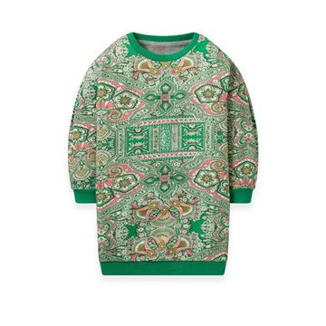 Picture of Oilily Girls 'Herrie' Green Printed Jumper Dress