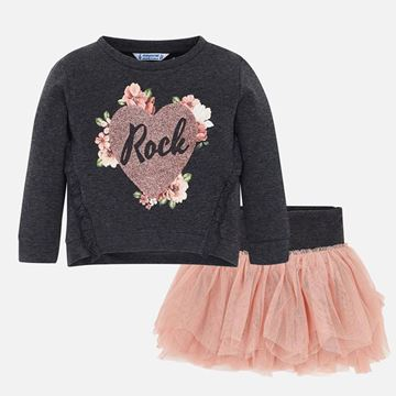 Picture of Mayoral Girls Grey & Pink 2 Piece Skirt Set