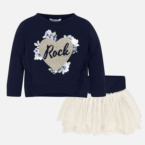 Picture of Mayoral Girls Navy & Gold 2 Piece Skirt Set