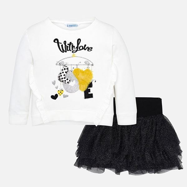 Picture of Mayoral Girls Black & White 2 Piece Skirt Set
