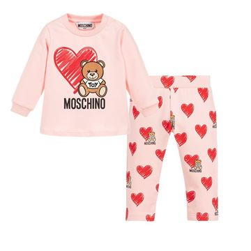 Picture of Moschino Baby Girls Pink Teddy With Heart Leggings Set