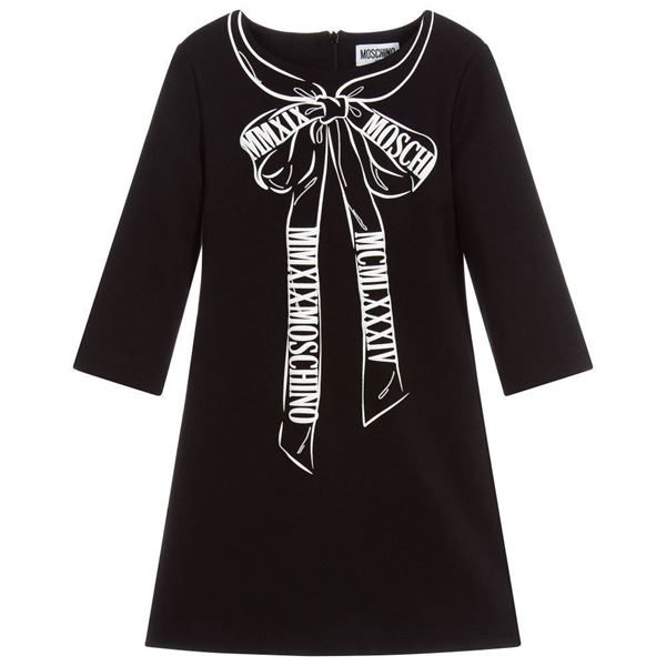Picture of Moschino Girls Black Bow Dress