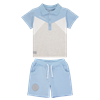 Picture of Mitch & Son Grey & Blue Polo Short Set