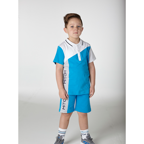 Picture of Mitch Blue Polo Top & Short Set