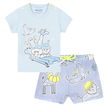 Picture of Kenzo Baby Boy 2 Piece Pale Blue Set With Animals