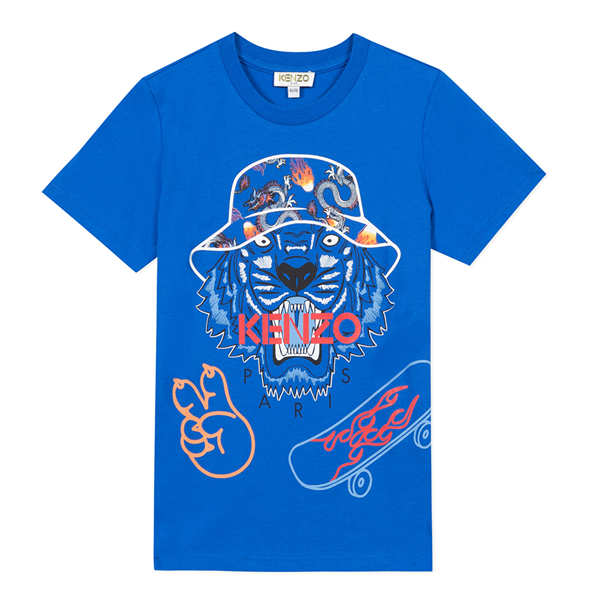 Picture of Kenzo Boys Blue Tiger T-Shirt