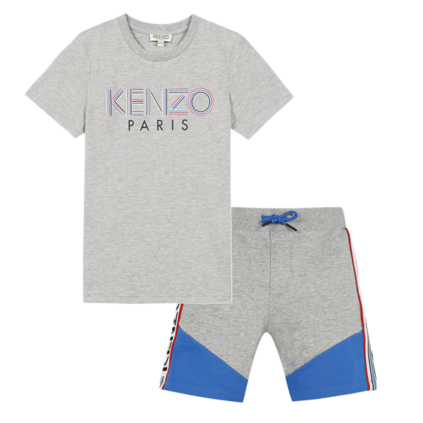 Picture of Kenzo Boys Grey 2 Piece Short Set