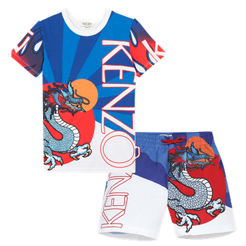 Picture of Kenzo Boys Dragon Print 2 Piece Swimset