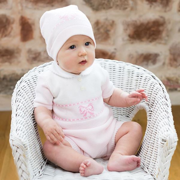 Picture of Emile Et Rose 'Sally' Pale Pink Knitted Romper